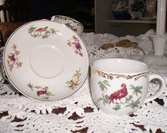 Set of Four Rutherford's Birds Cups and Saucers