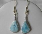 "Larimar Earrings Handmade Dominican Sky Blue 12x8mm Cabochons 1 3/4"" Sterling Silver Semiprecious Gemstone Take 20% Off Women's Jewelry Sale"