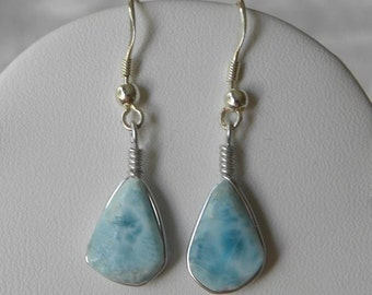 "Larimar Earrings Handmade Dominican Sky Blue 12x8mm Cabochons 1 3/4"" Sterling Silver Semiprecious Gemstone Take 20% Off Women's Jewelry Sale"