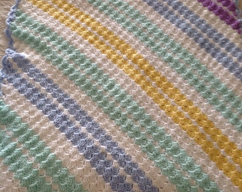 Multicolored Diagonal Striped Crocheted Baby Afghan