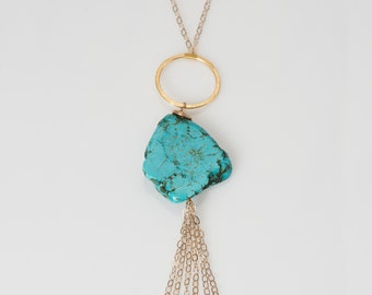 Turquoise rock wire-wrapped pendant necklace with tassel