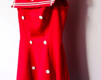 Vintage Red Sailor Dress
