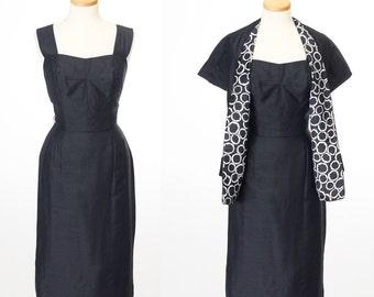 vintage 1950s two piece dress set // CHIC Black Silk Wiggle Dress Matching Shawl by Dress Town California