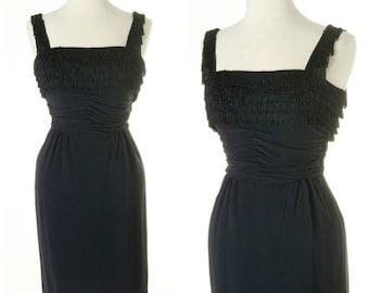 vintage 1950s wiggle dress // fringe layers SHIMMY SHAKE tassels black ferman o'grady cocktail bombshell