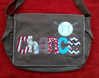 Large Raw Edge Messenger Bag or Diaper Bag with Personalized Applique Name and Baseball