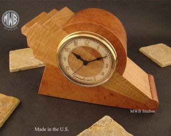 Art Deco mantle clock with unique dial.  MC44 with madrone burl.  Free Shipping.