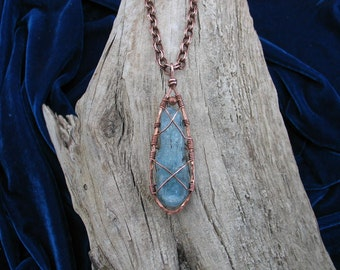 Hand Sculpted, Wire Wrapped Copper and Kyanite Necklace - READY TO SHIP