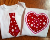 Valentine Sibling Set - Ruffle Heart or Tie shirt - Brother Sister Valentine