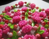 Flower Necklace Vintage 1960's Hot Pink and Green Plastic Long Beads Summer costume jewelry boho hippie