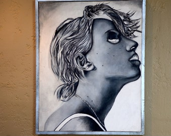 "Original Portrait 'Updraft"" 16X20 Portrait, Acrylic, Canvas, Photorealism, Abstract, Portraiture"