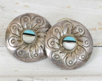 Vintage Sterling Silver Inlaid Turquoise and Shell CONCHO Pierced Earrings