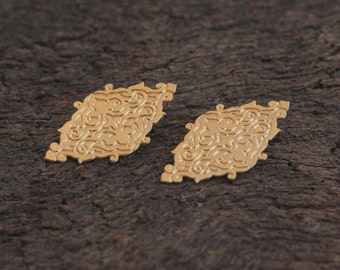 Gold Ethnic Post Earrings , Tribal Studs , Bridal Earrings , Prom Jewelry