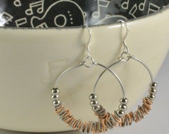 Staccato - Guitar String Hoop Earrings - Two Tone