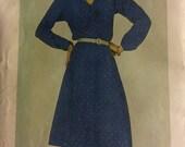 Butterick 3375 beginner pattern, womens dress pattern, size medium, shawl collar with ties, secretary dress, vintage sewing supples