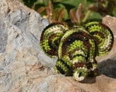 Crocheted Amigurumi Elephant Gift/Zoo Animal/Party/Baby shower/Black, Brown, Cream, 2 shades of Green,/HUNTER