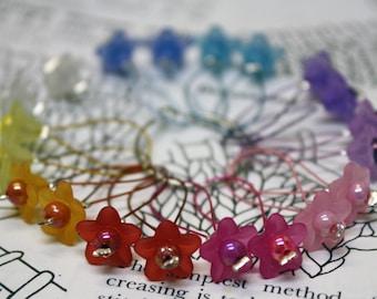20 Knitting stitch markers Rainbow flowers