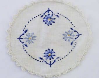 Hand embroidered doily coaster, shabby chic decorating, blue flowers, unique vintage linens, table doilies