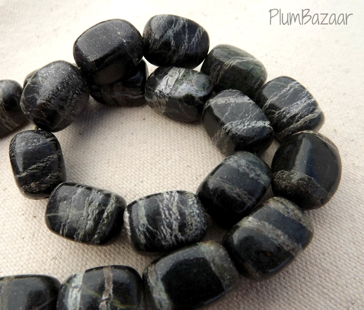 Chrysotile in Serpentine stone beads 15 x 10mm with by PlumBazaar