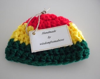 Baby Hat Crochet Rasta Bob Marley  Infant Photography Prop 3-6  months