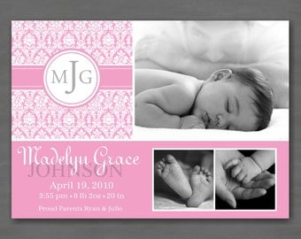 Baby Girl Photo Birth or Adoption Announcement; Pink Damask with Monogram