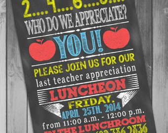 Teacher appreciation Christmas luncheon invitation ...
