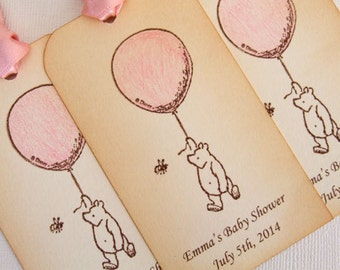 Personalized Winnie the Pooh Baby Shower Gift Tags, Set of 6, New Baby Girl, Pink, Decorations, Favor, Hang Tags, Vintage Style, Tags 003-P