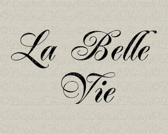 Inspirational French Script La Belle Vie Beautiful Life Printable Digital Download for Iron on Transfer Fabric Pillows Tea Towels DT566