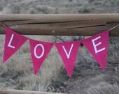 Love Pink Burlap Banner, Valentine's Day, Photography Prop
