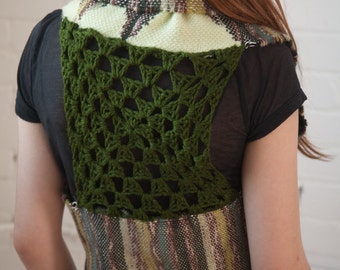 Unity: A Hand Created Freestyle Vest, Circle Vest, Granny Square Vest, One Size Fits Most, Hippie Vest, Layering Piece, hand woven, SAORI