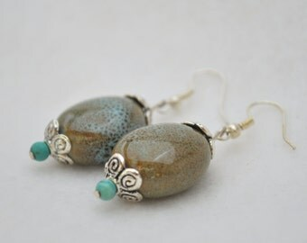 CLEARANCE SALE - Turquouise and brown ceramic bead with silver floral bead cap earrings