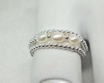 White Pearl Toe Ring Stackable Toe Ring or Thumb Ring Triple Rings 100% 925 Sterling Silver BuyAny3+Get1Free