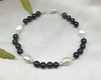 Black Onyx Bracelet Black Onyx Pearl Bracelet White Pearl Bracelet Adjustable Bracelet Sterling Silver or 14k Gold Filled BuyAny3+Get1Free