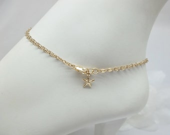 14k Gold Chain Anklet Double Strand Chain Ankle Bracelet Starfish Anklet 14k Gold Filled Stamped GF 1/20 Anklet or Bracelet BuyAny3+Get1Free