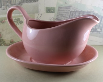 Pink Gravy Boat and Saucer, Vintage, Mervyn's, Japan, Excellent Condition
