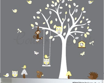 Wall decal forest friends yellow and grey wall sticker for baby - 0247