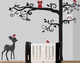 Nursery tree wall decal, decal nursery tree, black tree decal, baby deer decal, red birds decal, owls decals