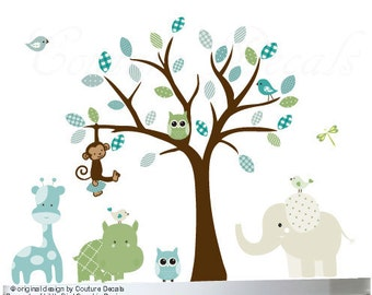 Vinyl wall decal tree childrens jungle decal with giraffe, hippo and elephant - 0281
