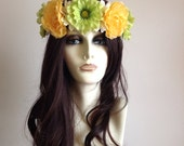 Yellow green and white flower crown, adjustable headband