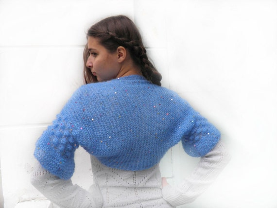 Women shrug, blue mohair knitted Bolero, light as a cloud, azure BRIDAL SHRUG, wedding bolero, Ready to Ship