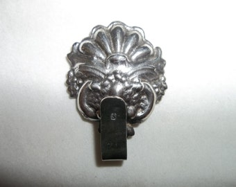 Antique FRENCH Belt Buckle...Sterling Silver...Perfect Condition...REPOUSSE Shell Motif