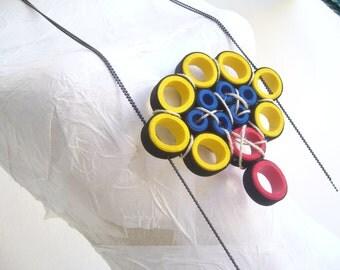 Rubber necklace avant garde/loop statement ooak