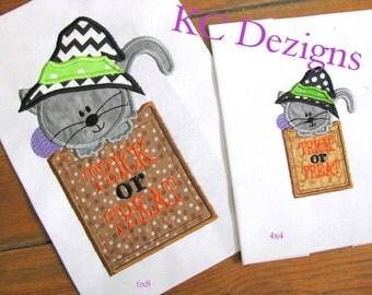 Halloween Cat Trick or Treat Machine Applique Embroidery Design - 4x4, 5x7 & 6x8