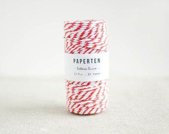 Baker's Twine Spool, Orange & White, Thick 12 Ply - Gift Tags - Gift Wrap - Scrapbooking - Wedding - 22 Yards (Item code: W589)