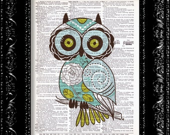 Sweet Teal Floral Owl - Vintage Dictionary Print Vintage Book Print Page Art Upcycled Vintage Book Art