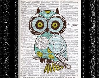 Sweet Teal Floral Owl - Vintage Dictionary Print Vintage Book Print Page Art Upcycled Vintage Book Art