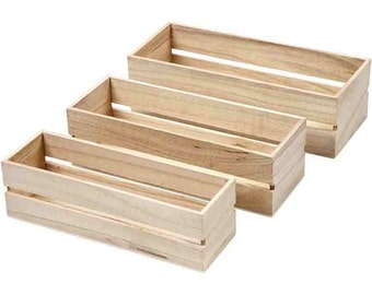 mini plain wooden fruit crates set of 3 small boxes craft decorate - Small Wooden Crates