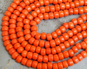 9mm Opaque Bright Orange Glass Crow Beads,  25 Inch Full Strand (OBOIND1C08)