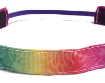 NOODLE HUGGER Non slip ribbon headband - colorful tie dye - 7/8 inch (running, working out, everyday: women and girls)