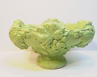 Vintage Upcycled Fruit Bowl Painted Flower Vase Centerpiece Mexican Pottery