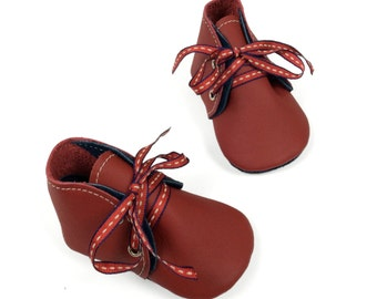 Lambswool lined navy and red soft soled leather baby shoes, baby boots, crib shoes, pre walkers.